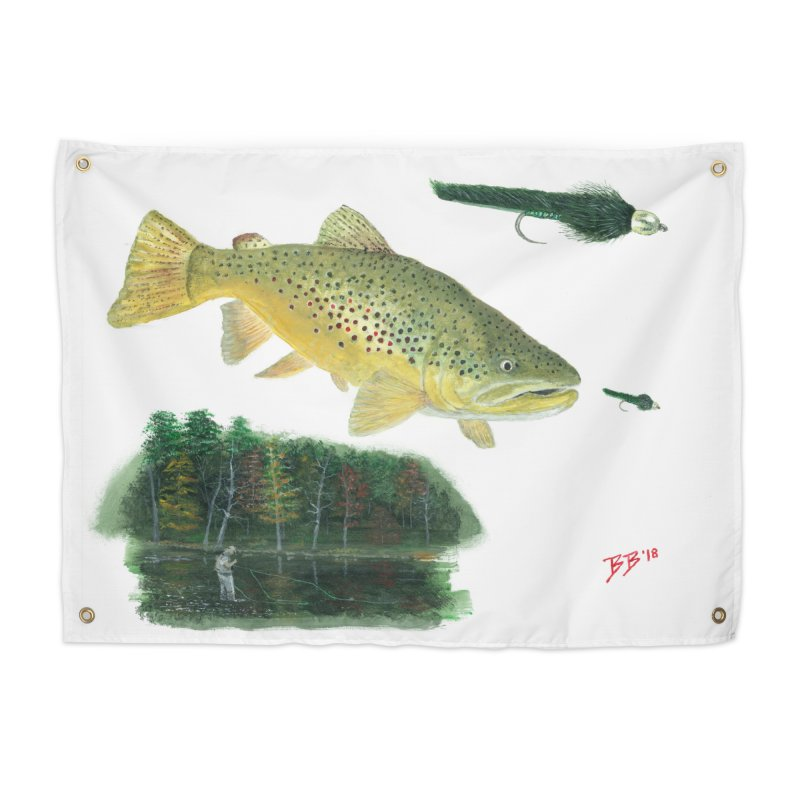 Brown Trout Collage Home Tapestry by Art By BB's Artist Shop