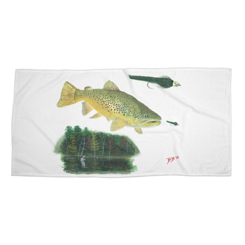 Brown Trout Collage Accessories Beach Towel by Art By BB's Artist Shop