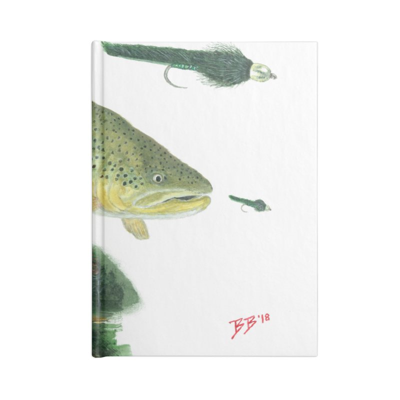 Brown Trout Collage Accessories Lined Journal Notebook by Art By BB's Artist Shop