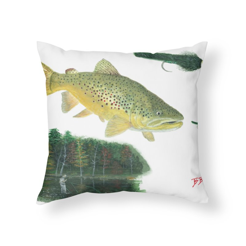 Brown Trout Collage Home Throw Pillow by Art By BB's Artist Shop