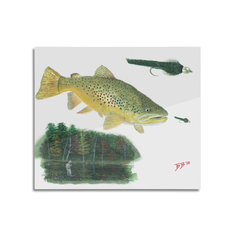 Brown Trout Collage Home Mounted Aluminum Print by Art By BB's Artist Shop