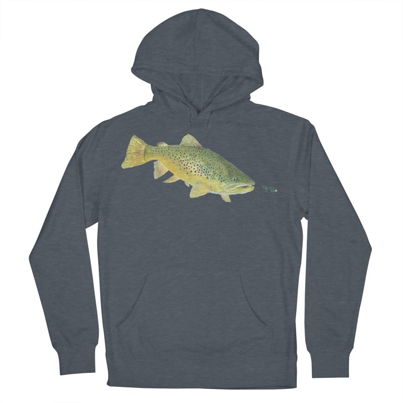 Brown Trout with fly Women's French Terry Pullover Hoody by Art By BB's Artist Shop