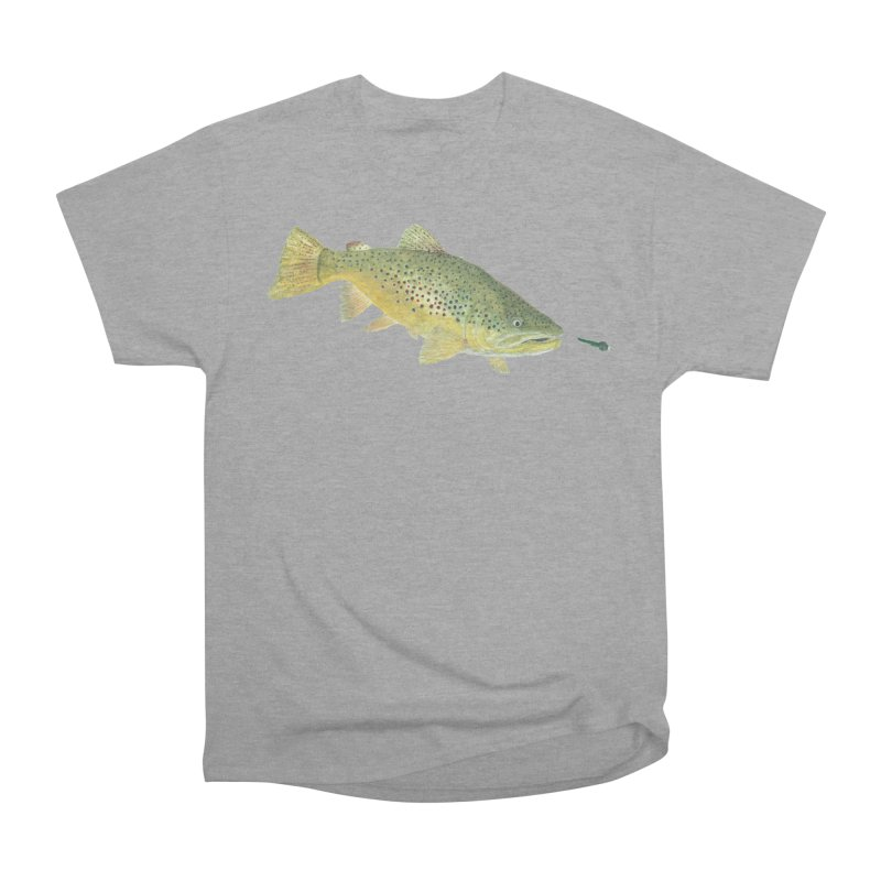 Brown Trout with fly Women's Heavyweight Unisex T-Shirt by Art By BB's Artist Shop