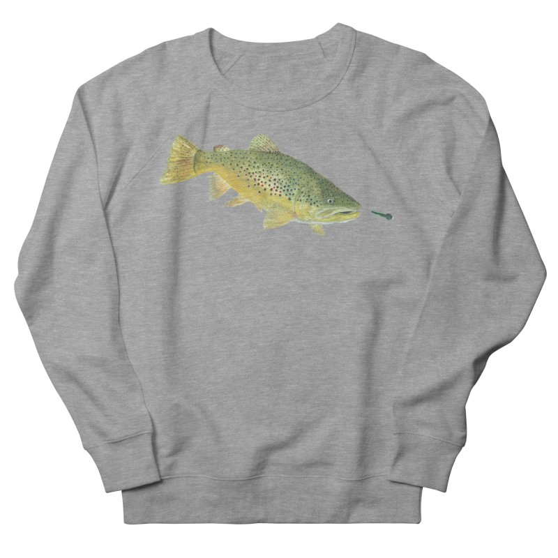 Brown Trout with fly Men's French Terry Sweatshirt by Art By BB's Artist Shop