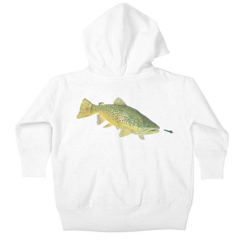 Brown Trout with fly Kids Baby Zip-Up Hoody by Art By BB's Artist Shop