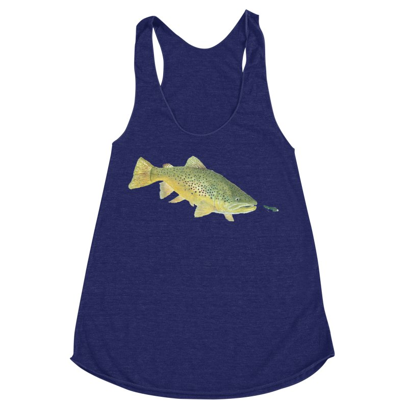 Brown Trout with fly Women's Racerback Triblend Tank by Art By BB's Artist Shop