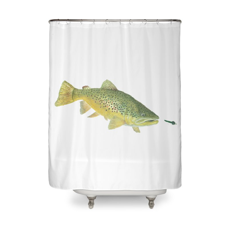 Brown Trout with fly Home Shower Curtain by Art By BB's Artist Shop