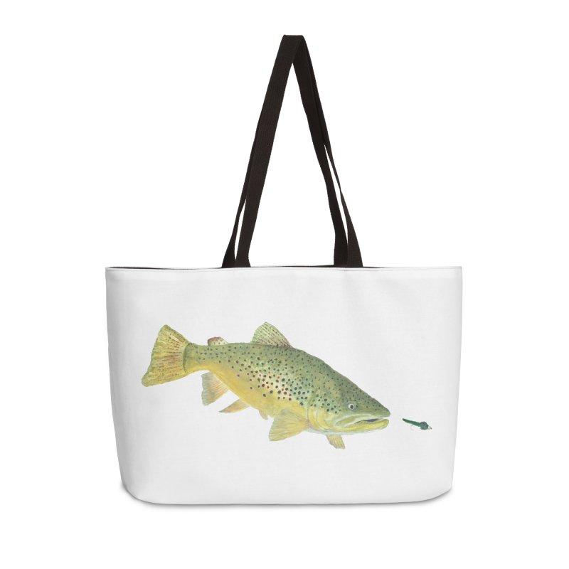 Brown Trout with fly in Weekender Bag by ArtByBB's Artist Shop