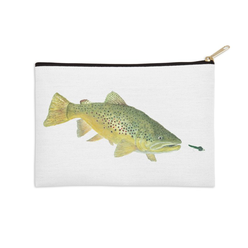 Brown Trout with fly Accessories Zip Pouch by Art By BB's Artist Shop