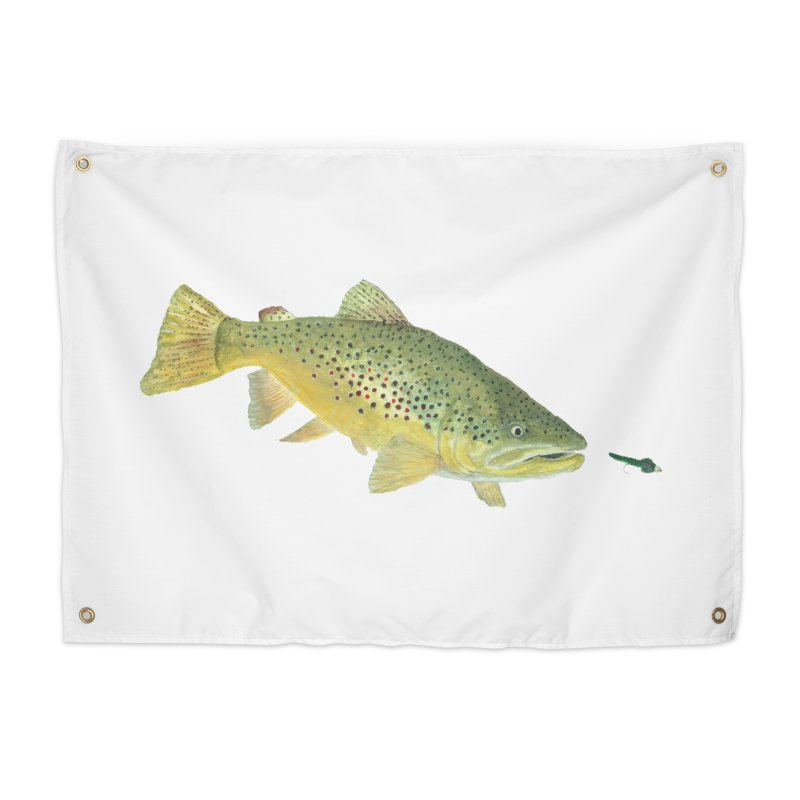 Brown Trout with fly Home Tapestry by Art By BB's Artist Shop
