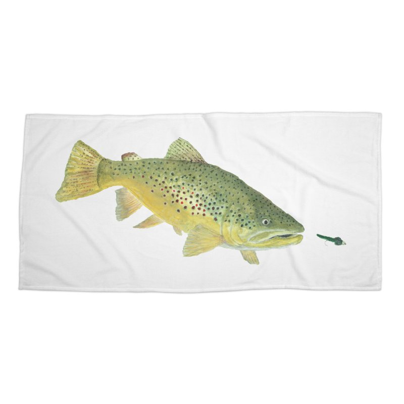 Brown Trout with fly Accessories Beach Towel by Art By BB's Artist Shop