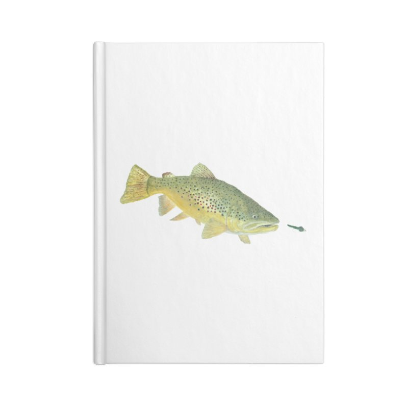 Brown Trout with fly Accessories Lined Journal Notebook by Art By BB's Artist Shop
