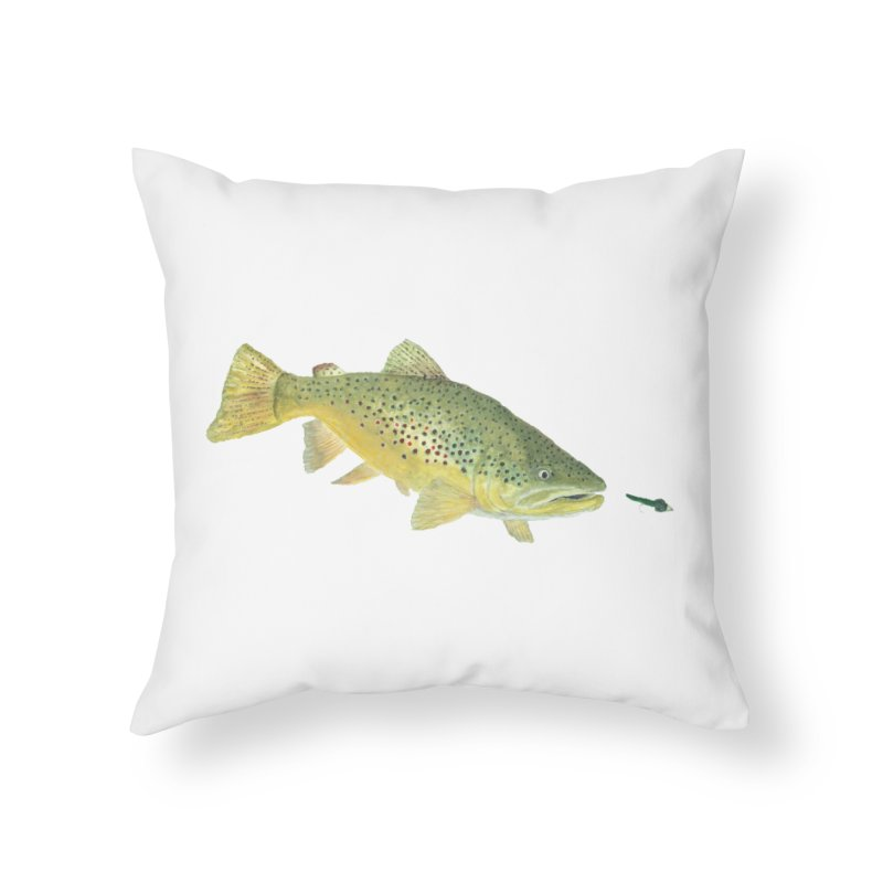 Brown Trout with fly Home Throw Pillow by Art By BB's Artist Shop