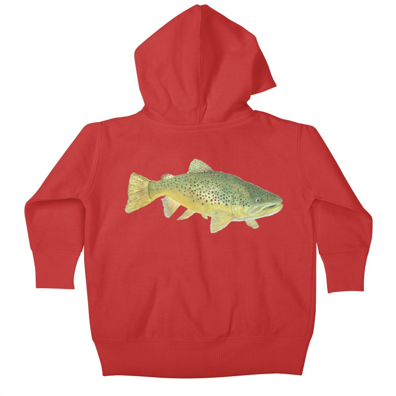 Brown Trout PNG Kids Baby Zip-Up Hoody by Art By BB's Artist Shop