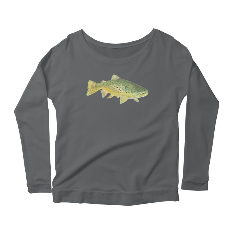 Brown Trout PNG Women's Scoop Neck Longsleeve T-Shirt by Art By BB's Artist Shop