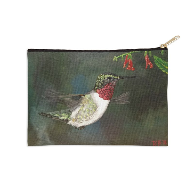 Ruby Throated Hummingbird II Accessories Zip Pouch by Art By BB's Artist Shop