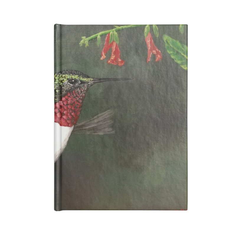 Ruby Throated Hummingbird II Accessories Lined Journal Notebook by Art By BB's Artist Shop