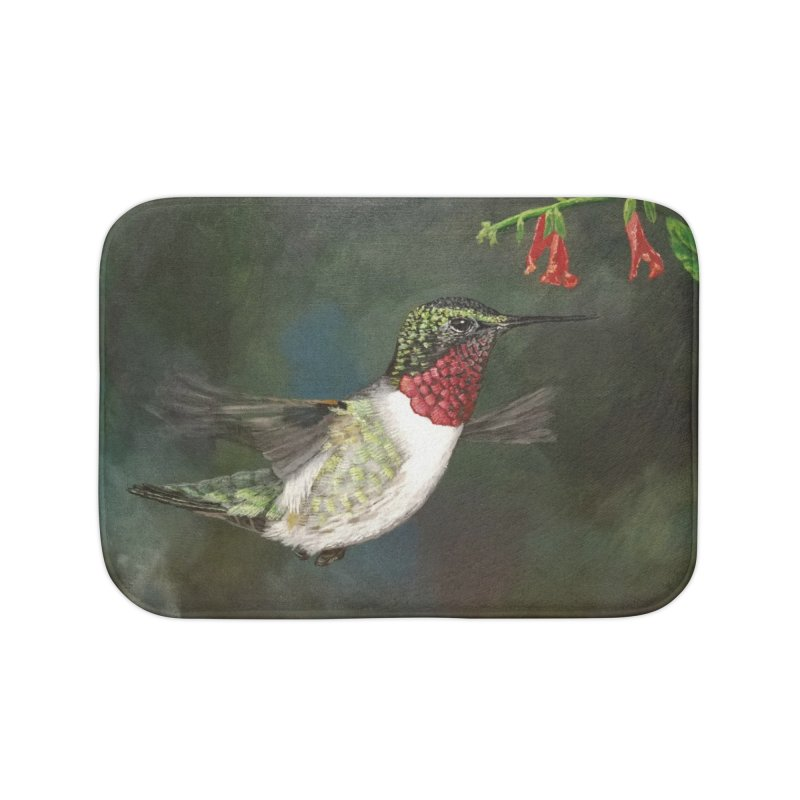 Ruby Throated Hummingbird II Home Bath Mat by Art By BB's Artist Shop