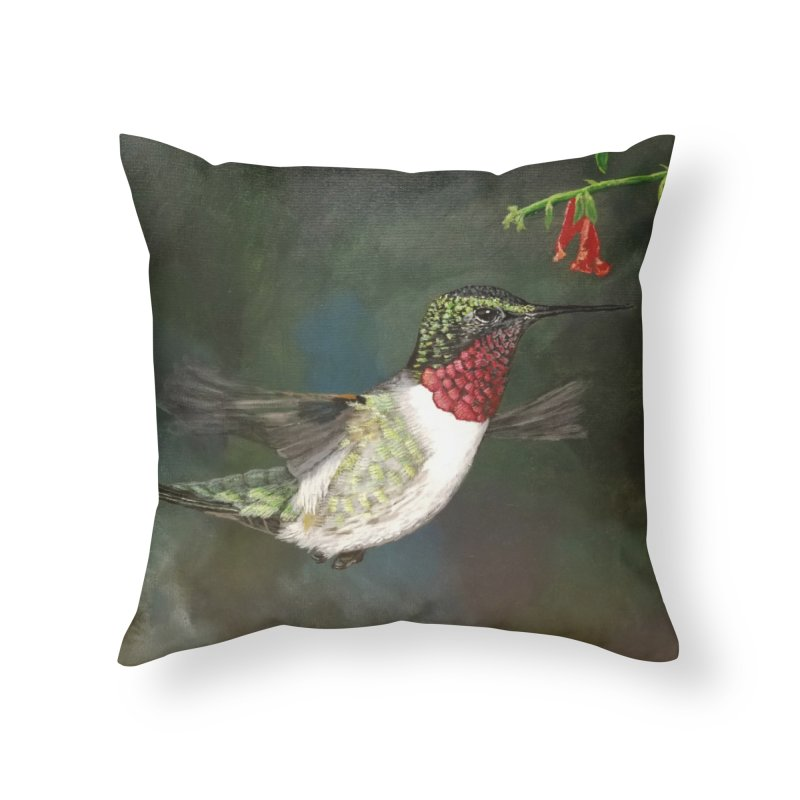 Ruby Throated Hummingbird II Home Throw Pillow by Art By BB's Artist Shop