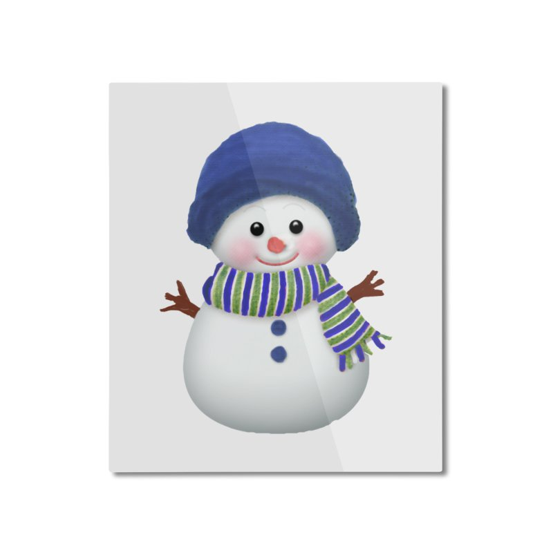 SnowmanSWB Home Mounted Aluminum Print by Art By BB's Artist Shop