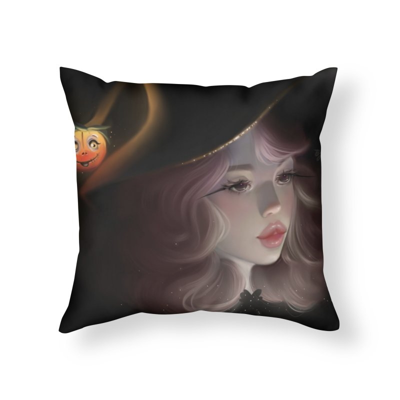 Cute Witch Home Throw Pillow by artbybrookyln's Artist Shop