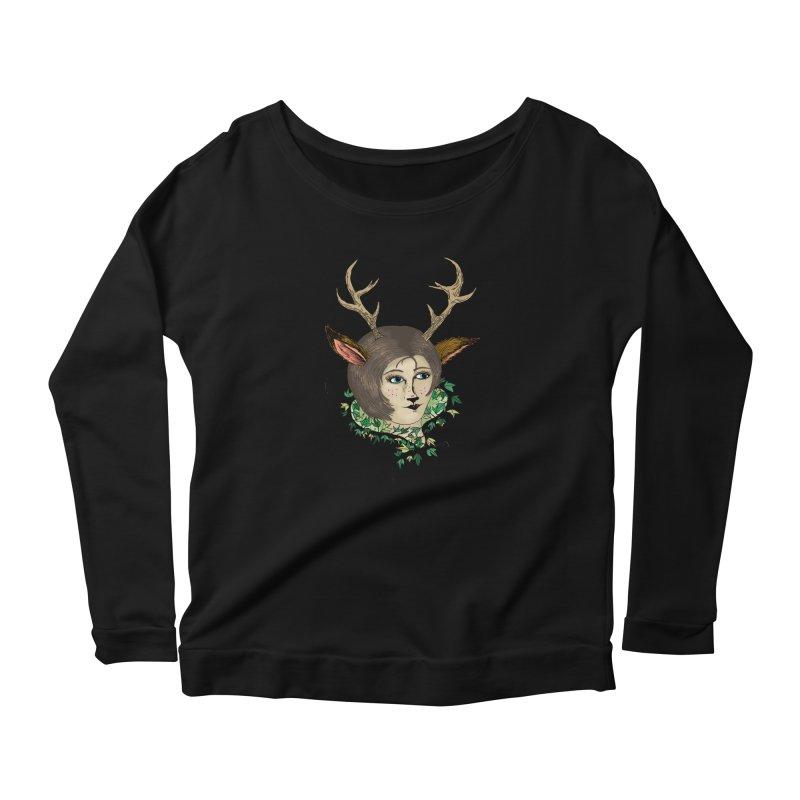 My Deer Lady Women's Longsleeve Scoopneck  by artbydebbielindsay's Artist Shop