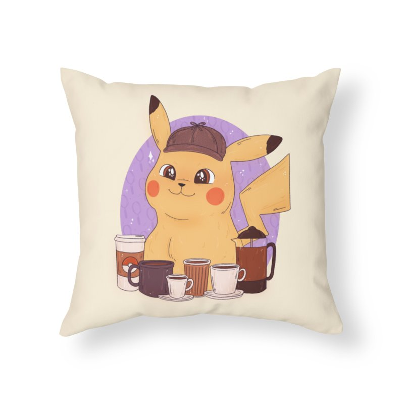 Detective Pikachu Home Throw Pillow by ArtbyMoga Apparel Shop