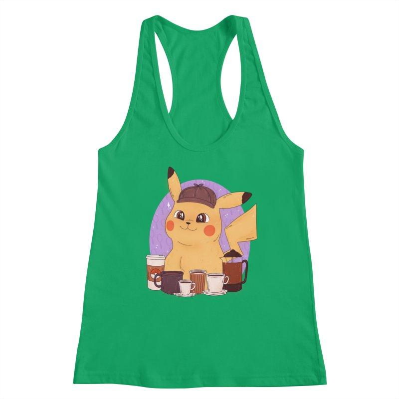 Detective Pikachu Women's Racerback Tank by ArtbyMoga Apparel Shop