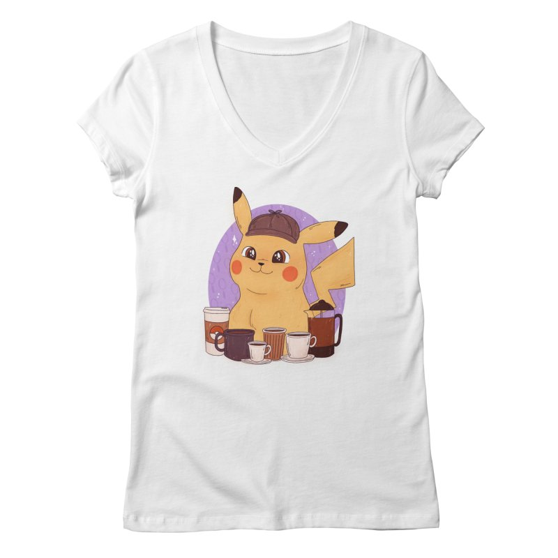 Detective Pikachu Women's Regular V-Neck by ArtbyMoga Apparel Shop