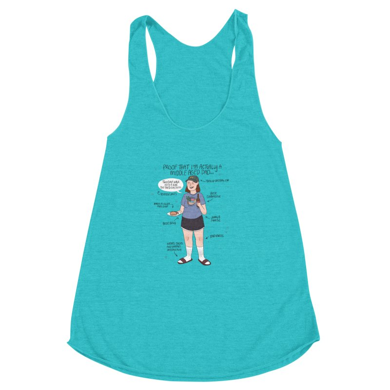 Middle Aged Dad Women's Racerback Triblend Tank by ArtbyMoga Apparel Shop