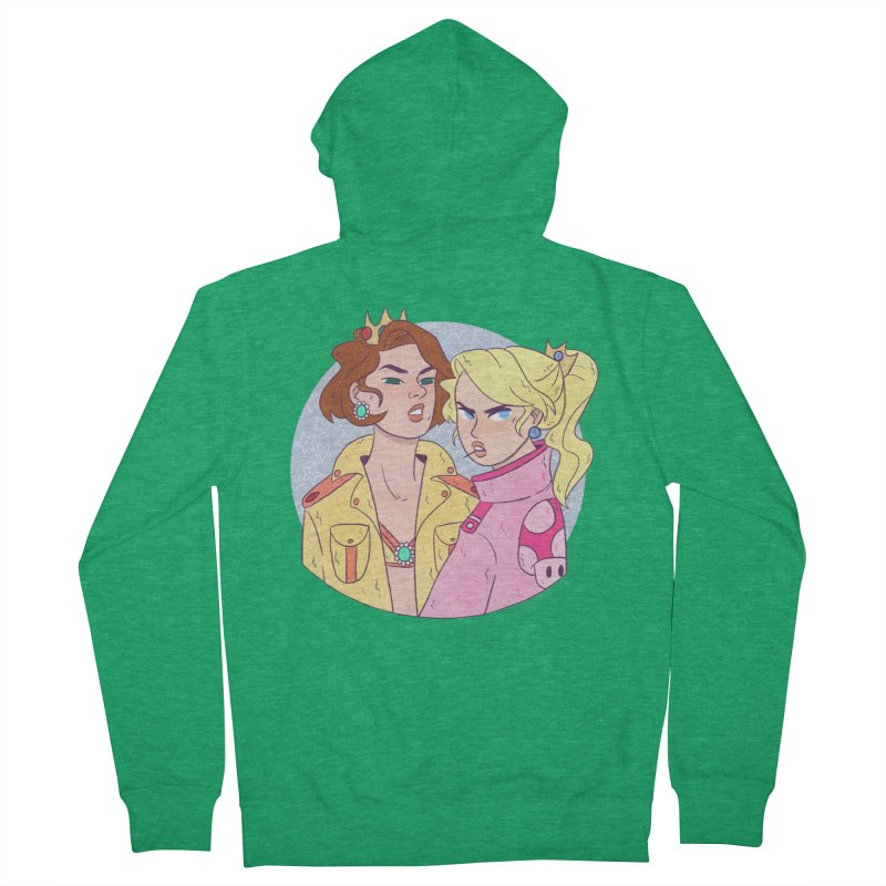 Peach and Daisy Women's French Terry Zip-Up Hoody by ArtbyMoga Apparel Shop