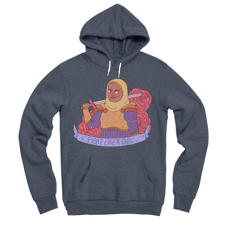 GRL PWR Knights Fight Like A Girl Men's Sponge Fleece Pullover Hoody by ArtbyMoga Apparel Shop