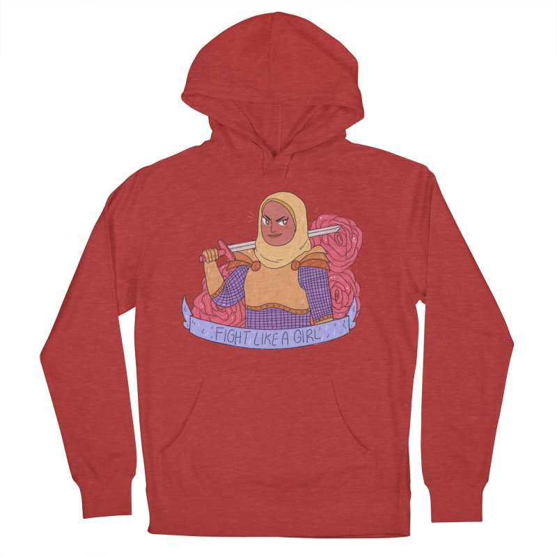 GRL PWR Knights Fight Like A Girl Women's French Terry Pullover Hoody by ArtbyMoga Apparel Shop