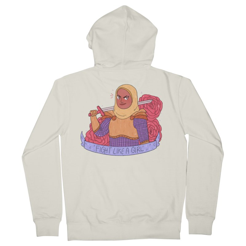 GRL PWR Knights Fight Like A Girl Women's French Terry Zip-Up Hoody by ArtbyMoga Apparel Shop