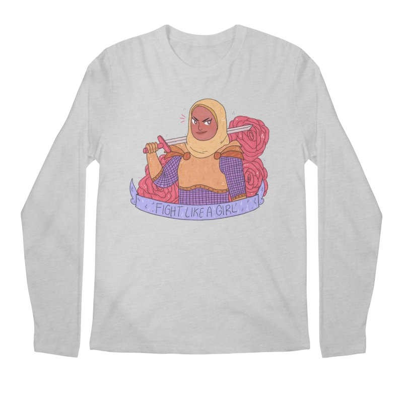 GRL PWR Knights Fight Like A Girl Men's Regular Longsleeve T-Shirt by ArtbyMoga Apparel Shop