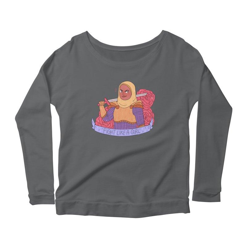 GRL PWR Knights Fight Like A Girl Women's Scoop Neck Longsleeve T-Shirt by ArtbyMoga Apparel Shop