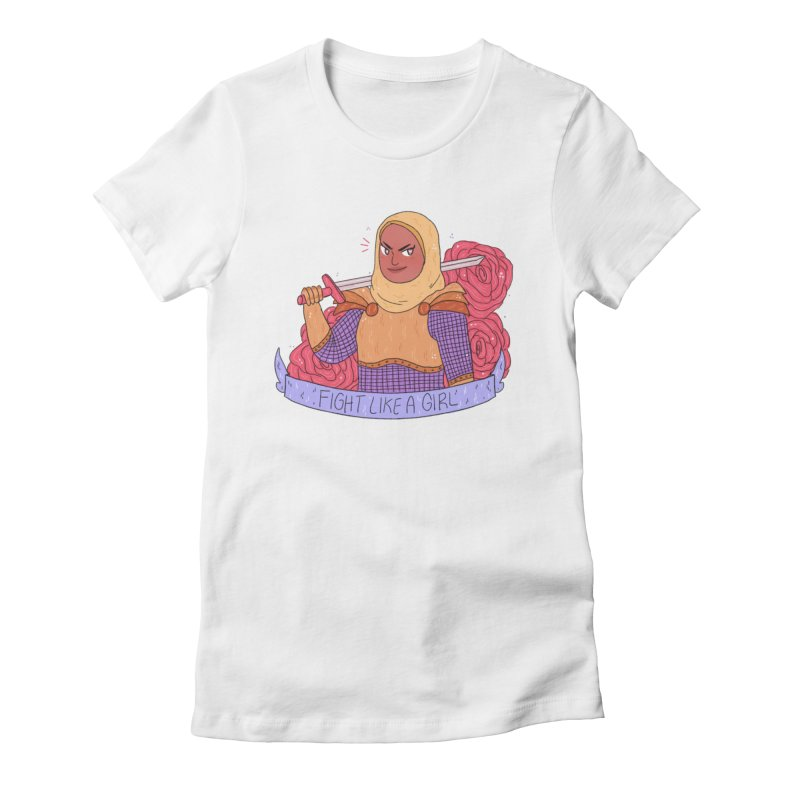 GRL PWR Knights Fight Like A Girl Women's Fitted T-Shirt by ArtbyMoga Apparel Shop