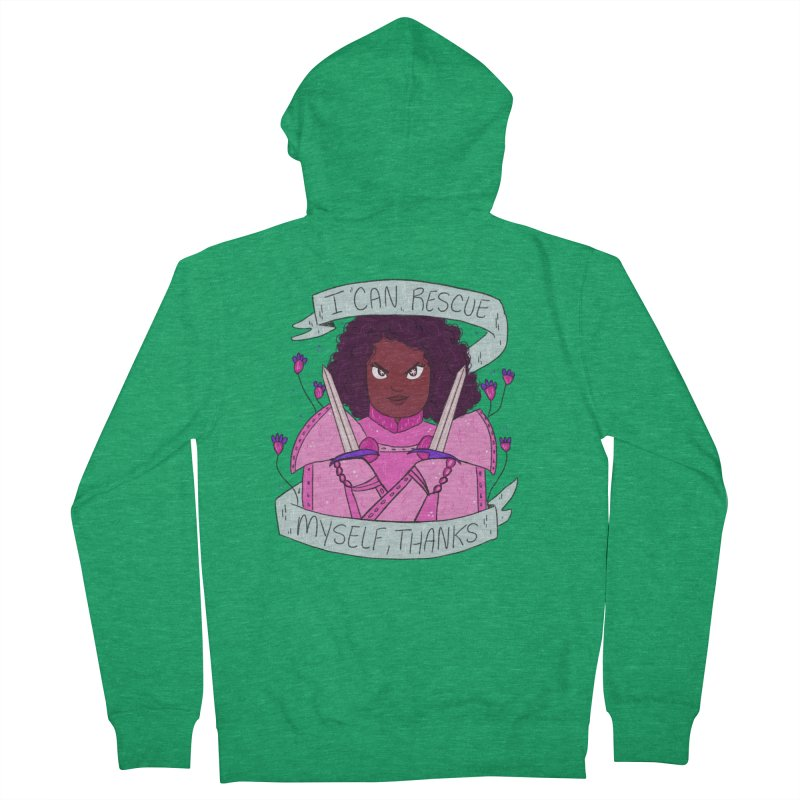 GRL PWR Knights Rescue Myself Women's French Terry Zip-Up Hoody by ArtbyMoga Apparel Shop