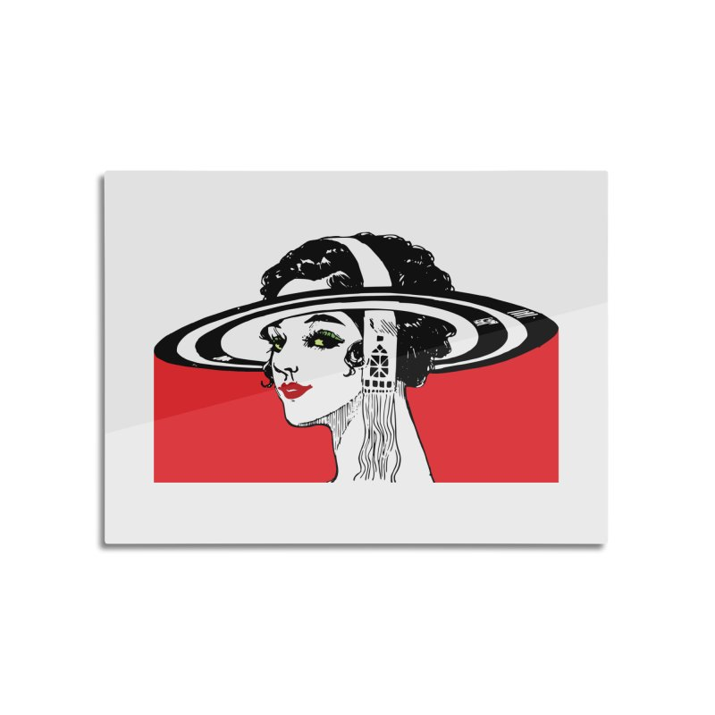 Brim Hat Women Home Mounted Aluminum Print by Artdrips's Artist Shop