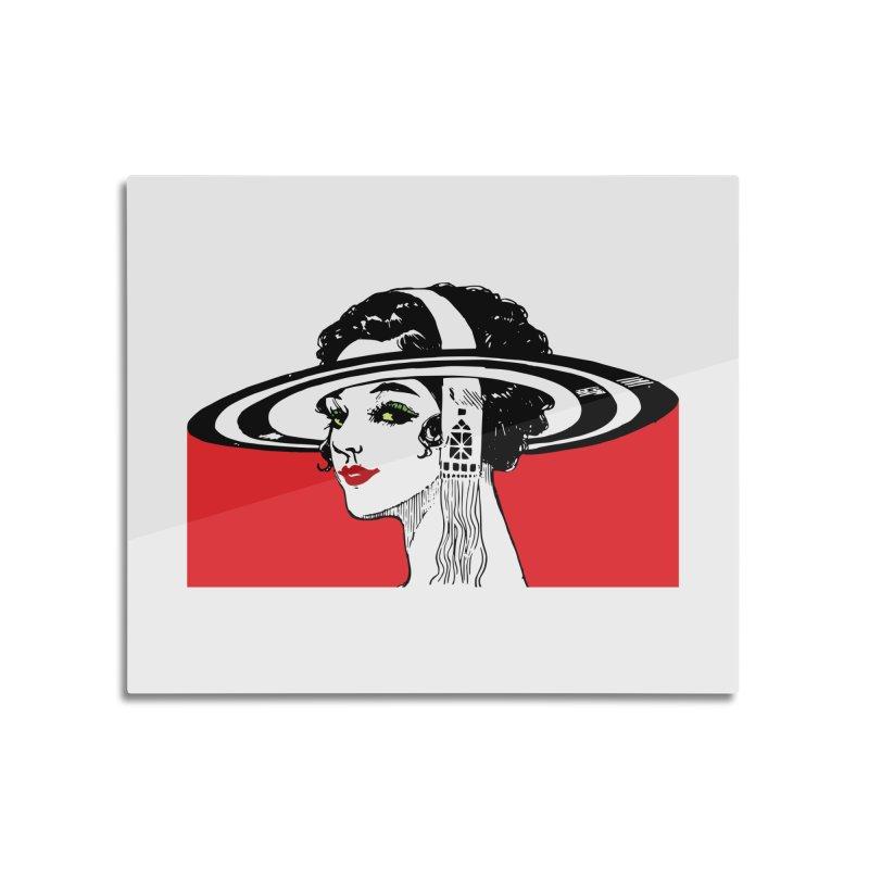 Brim Hat Women Home Mounted Aluminum Print by Artdrips's Artist Shop