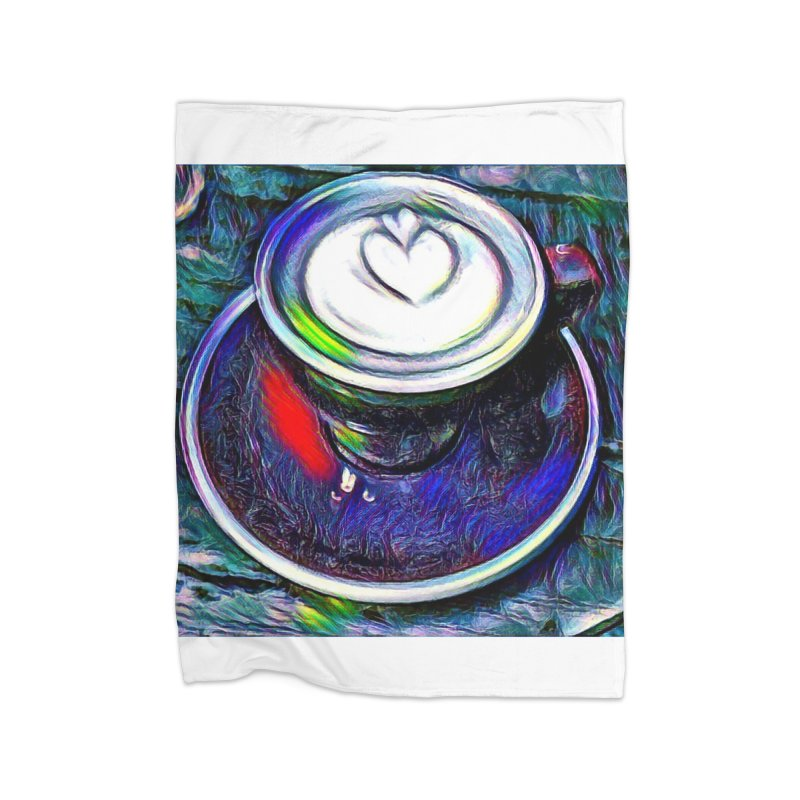 Coffe Cup Midnight Blue Home Fleece Blanket Blanket by Artdrips's Artist Shop