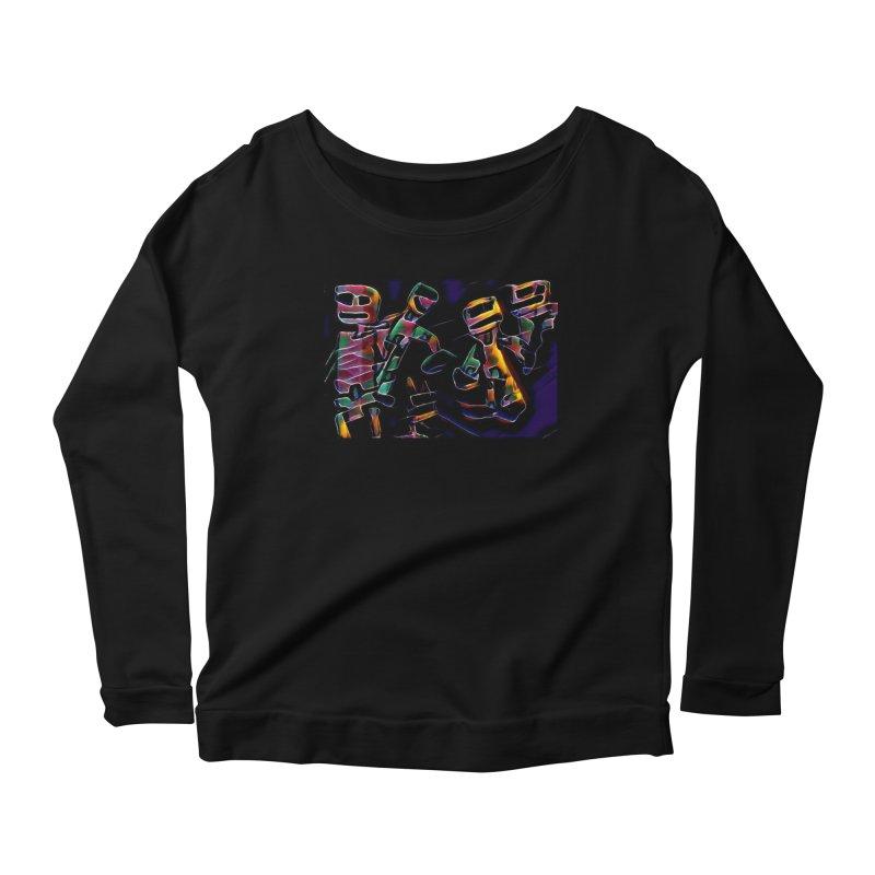 Neon Robots Women's Scoop Neck Longsleeve T-Shirt by Artdrips's Artist Shop