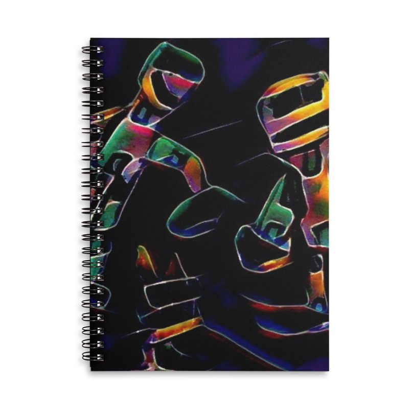 Neon Robots Accessories Lined Spiral Notebook by Artdrips's Artist Shop