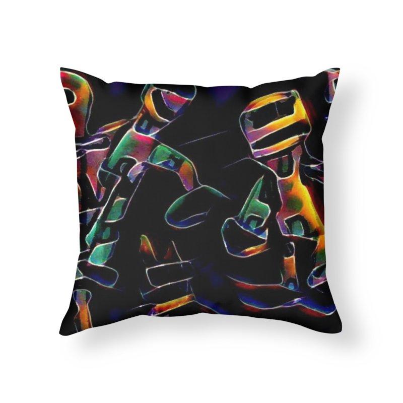 Neon Robots Home Throw Pillow by Artdrips's Artist Shop