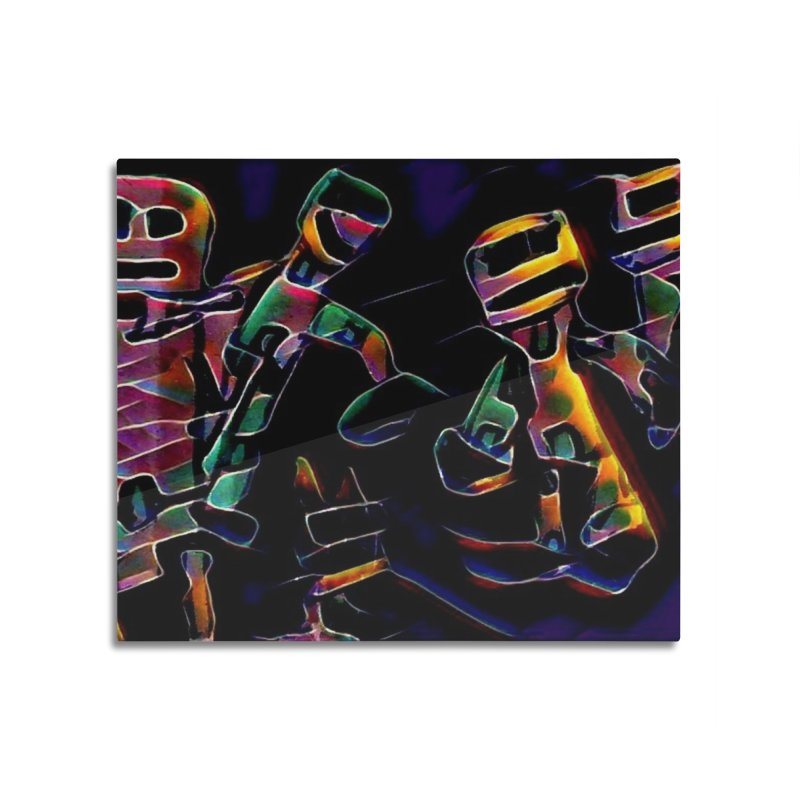 Neon Robots Home Mounted Acrylic Print by Artdrips's Artist Shop