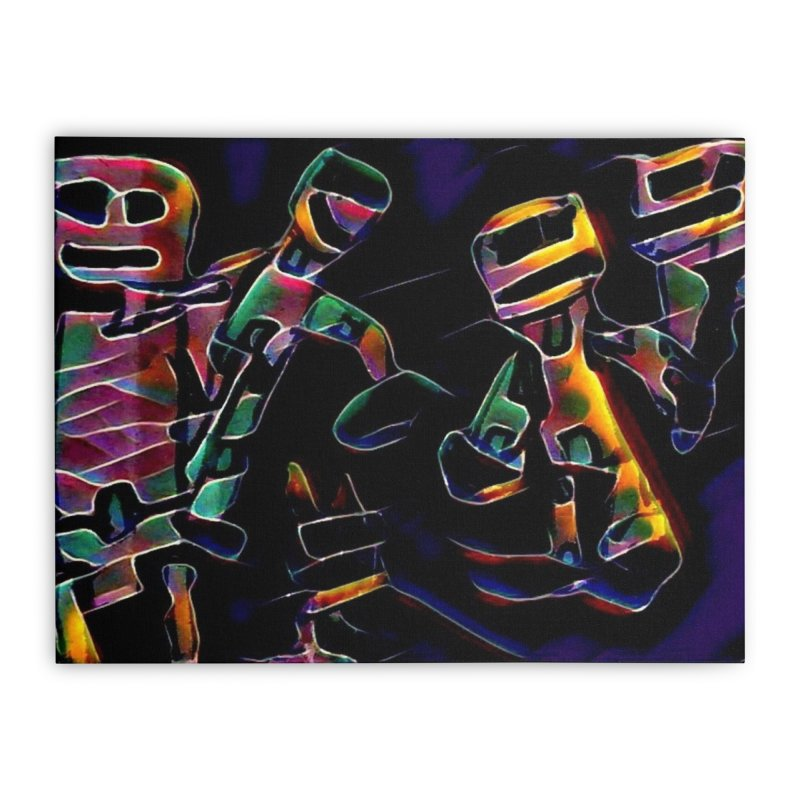 Neon Robots Home Stretched Canvas by Artdrips's Artist Shop