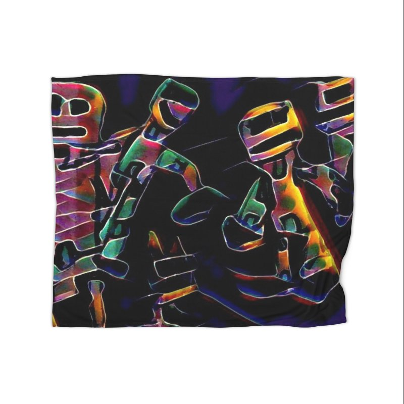 Neon Robots Home Fleece Blanket Blanket by Artdrips's Artist Shop