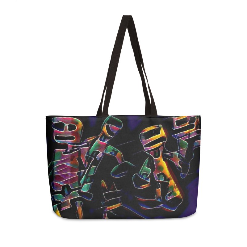 Neon Robots Accessories Weekender Bag Bag by Artdrips's Artist Shop