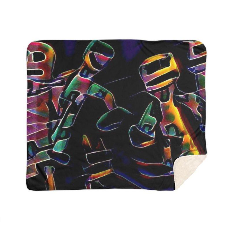 Neon Robots Home Sherpa Blanket Blanket by Artdrips's Artist Shop