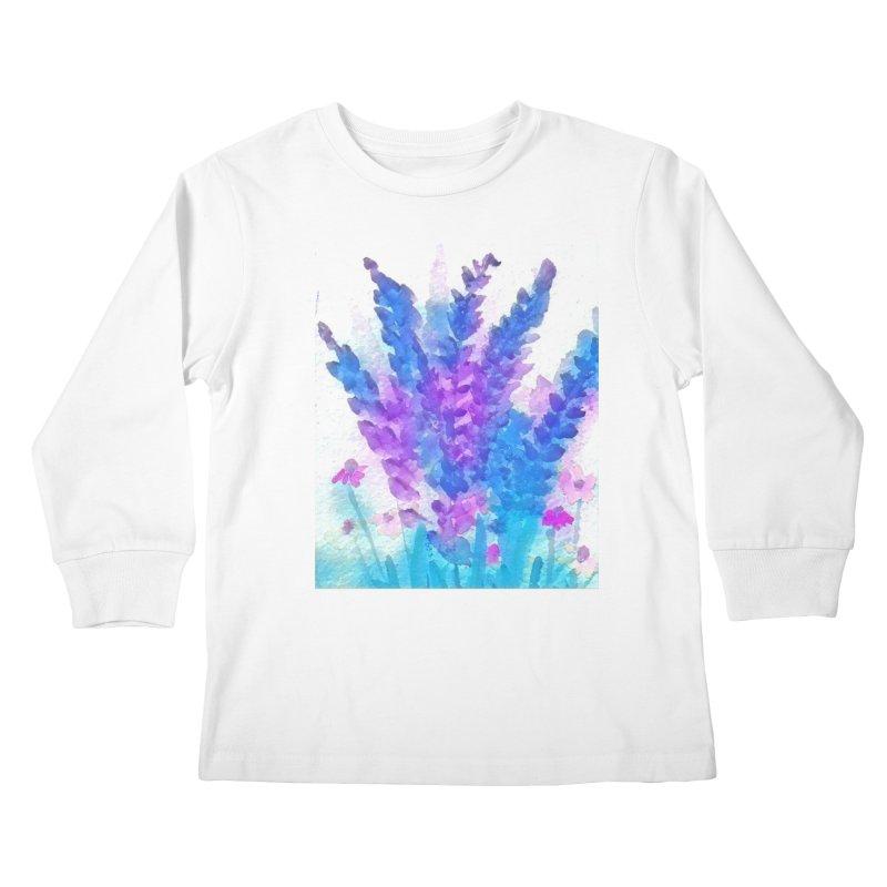 Wild flowers in Mauve Kids Longsleeve T-Shirt by Artdrips's Artist Shop